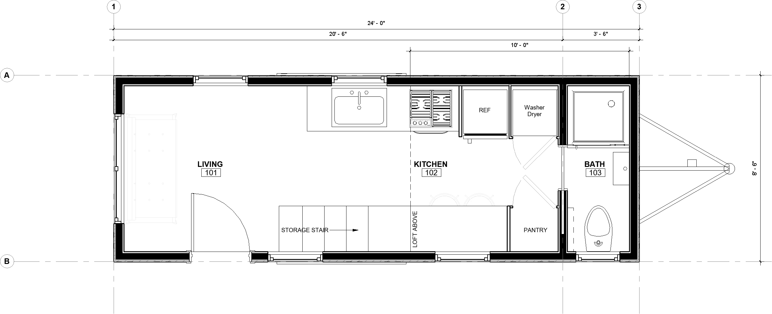 24ft Toccoa Model with Dimensions