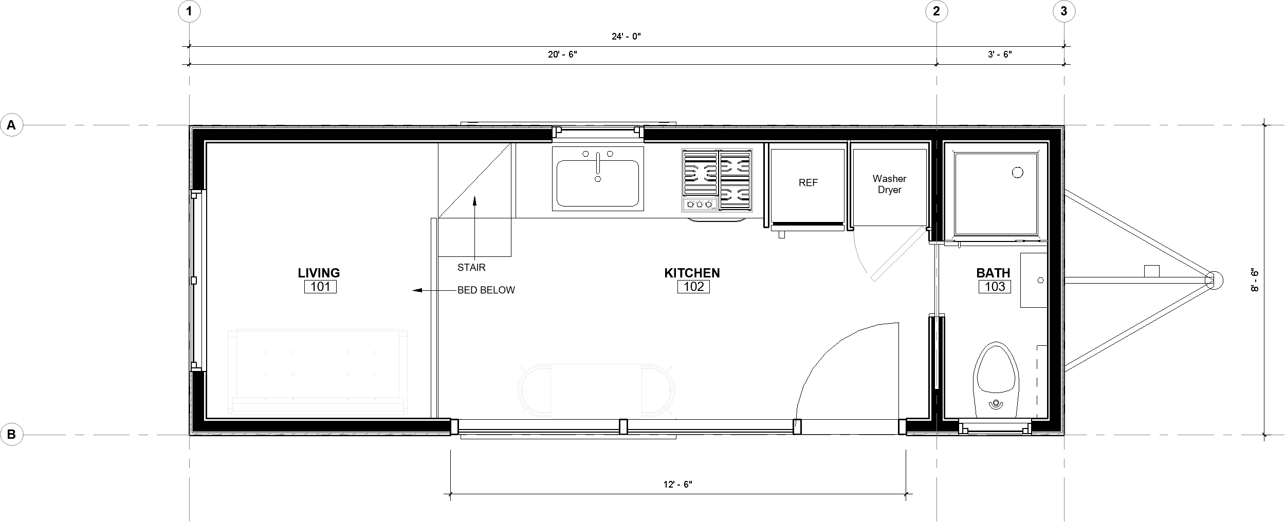 24ft Reverse Loft The Obed plan with dimensions