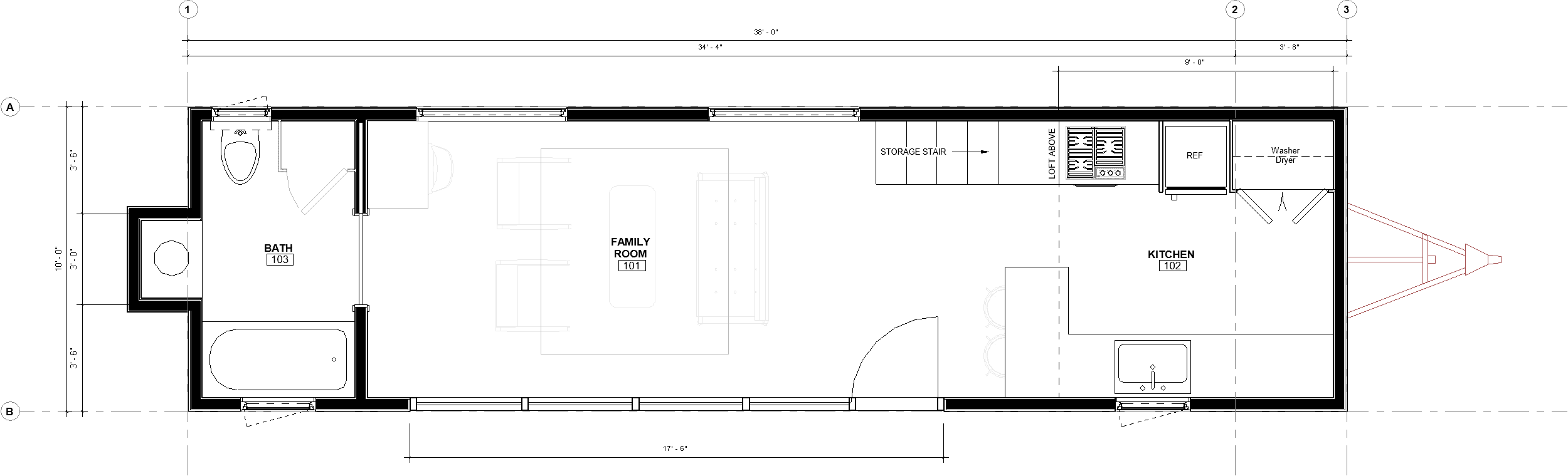 38ft Loft Brooks floorplan with dimensions
