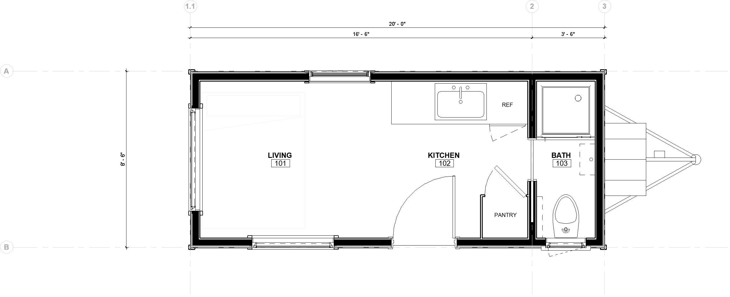The 20' Minimalist Floor Plan- dimensions